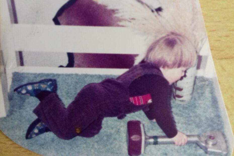A 3 year old Simon Grimley using a knee kicker